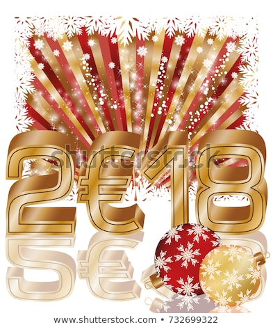 happy golden new 2018 euro year vector illustration stock photo © carodi