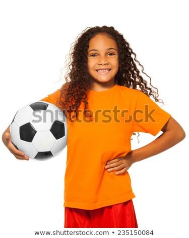 gyermek · labdarúgó · játszik · futball · eps10 · vektor - stock fotó © rastudio