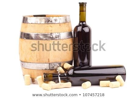 Eigengemaakt fles rode wijn kurk zwarte wijn Stockfoto © DenisMArt