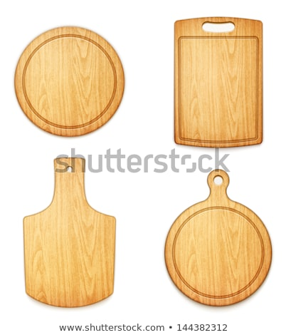 Wooden cutting board set. Kitchen cutting board Brown. Vector il Stock photo © popaukropa