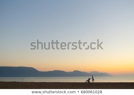 Anne yürüyüş plaj annelik gün batımı Stok fotoğraf © blasbike