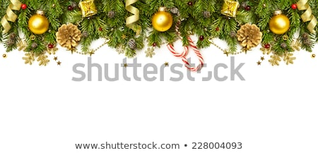 Stock photo: Christmas border with fir tree branches, pine cones and candy ca