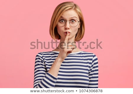 Mujer silencio mujer hermosa dedo boca Foto stock © hsfelix