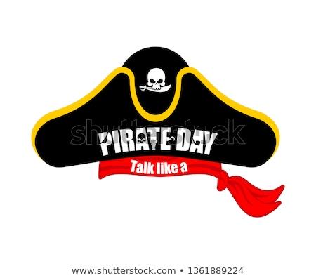 Pirates cap isolated. Hat buccaneer. Bones and skull. Corsair Ac Stock photo © popaukropa