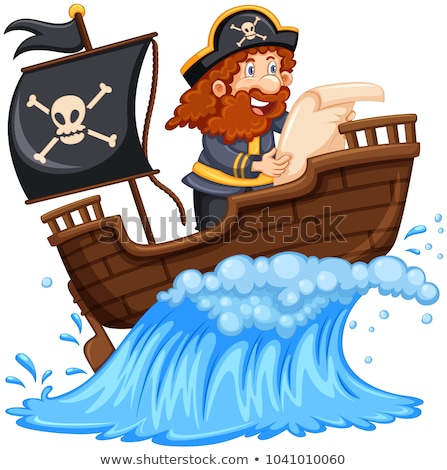 Stock photo: Pirate Reading a Map on White Background