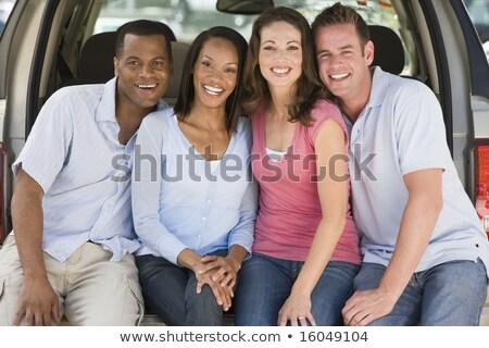 Négy személy furgon mosolyog szabadság iszik szállítás Stock fotó © IS2