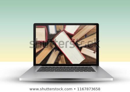 Dizüstü bilgisayar ekran ciltli kitap teknoloji Stok fotoğraf © wavebreak_media