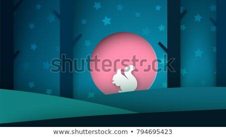 Karikatür kâğıt manzara sincap örnek ağaç Stok fotoğraf © rwgusev