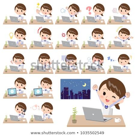 Magasin personnel bleu uniforme travaux ordinateur Photo stock © toyotoyo
