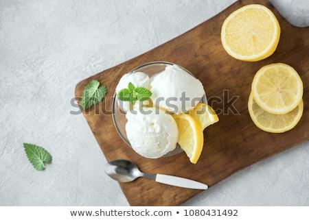Limon dondurma kepçe beyaz dilimleri meyve Stok fotoğraf © Digifoodstock
