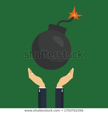 Foto stock: Desenho · animado · bomba · ilustração · cronômetro · ver · explosão
