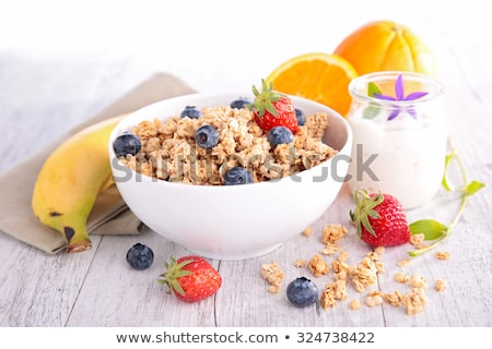licht · ontbijt · aardbeien · jam · melk - stockfoto © yuliyagontar