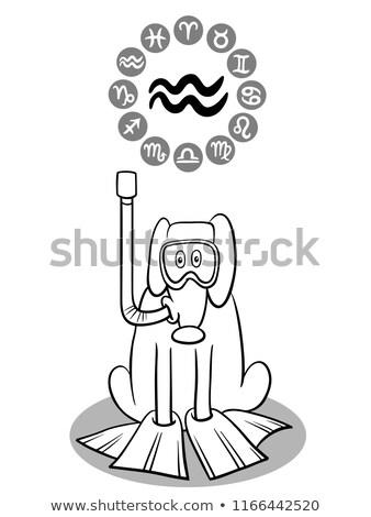 black and white horoscope zodiac signs with dogs Stock photo © izakowski