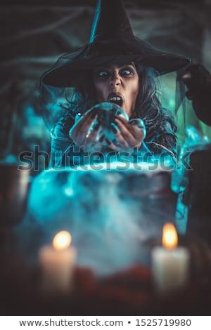 Heks kwaad gezicht griezelig vol spinneweb Stockfoto © MilanMarkovic78