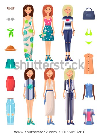 Dress and Hat Summer Mode Vector Illustration Stock photo © robuart