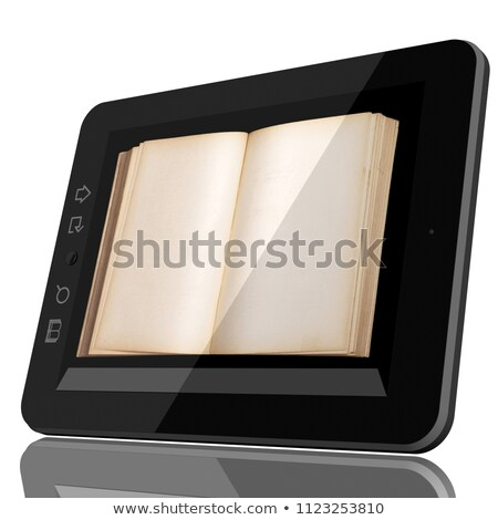 Zdjęcia stock: Digital Library Concept - Cgi Tablet Computer And Open Book On S
