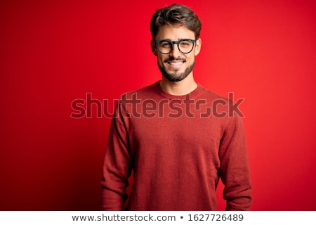 Portret podniecony człowiek stałego czerwony Zdjęcia stock © deandrobot