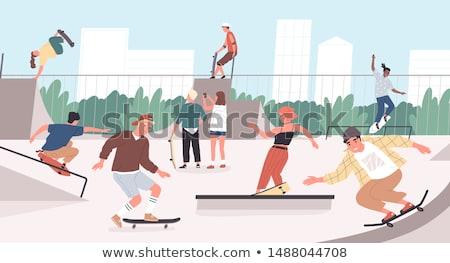 笑みを浮かべて · 代 · スケート · 極端な · ジャンプ - ストックフォト © robuart