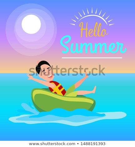 Donut Ride Boy having Fun Summertime Activities Stock photo © robuart