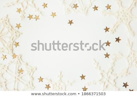 Karácsony arany csillagok vidám karácsonyi üdvözlet arany Stock fotó © odina222