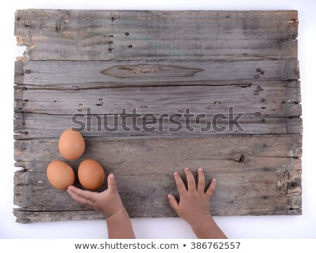Chicken or hen egg in wicker basket on sackcloth Stock photo © smuay