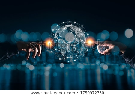 businessman with virtual planet and space hologram Stock photo © dolgachov