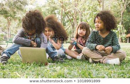 çocuklar çalışma bilgisayar park örnek doğa Stok fotoğraf © colematt