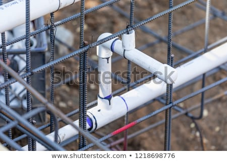 Newly Installed PVC Plumbing Pipes and Steel Rebar Configuration Stock photo © feverpitch