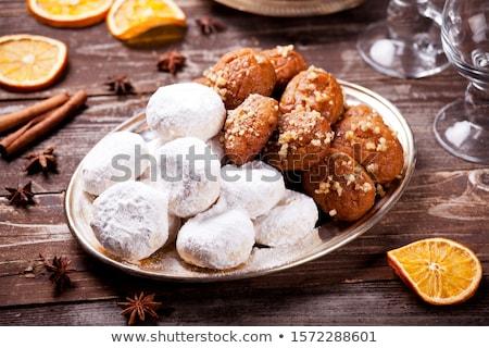 греческий домашний пластина белый орехи макроса Сток-фото © mpessaris
