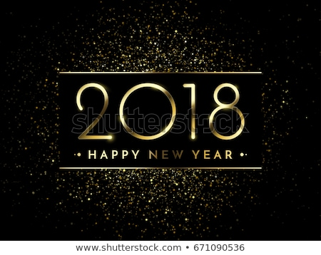 2018 New Year Party Celebration Poster Template Illustration with Shiny Gold Number on Abstract Blac Stock photo © articular