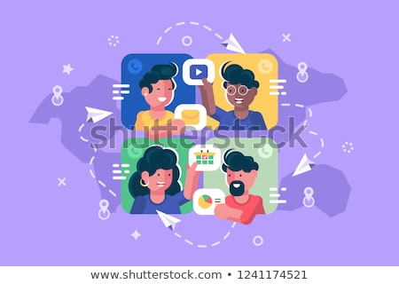people chatting online together flat poster stock photo © jossdiim