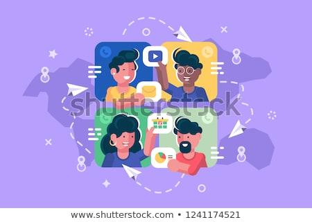 Ludzi online wraz plakat mężczyzn Zdjęcia stock © jossdiim