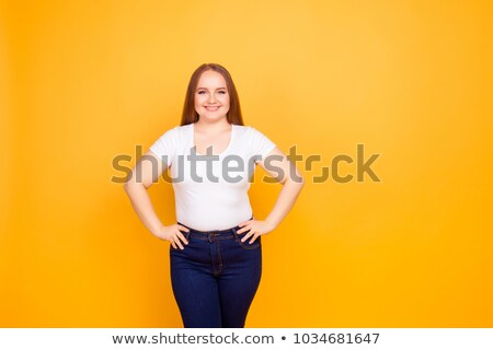 Portrait of cheerful fatty woman Stock photo © Kzenon