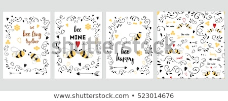 valentines day cards with cute bee vector set stock photo © beaubelle