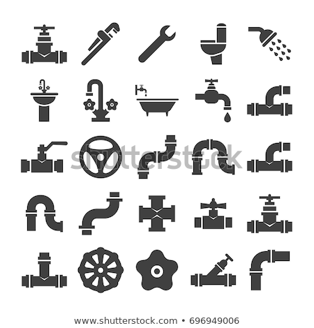 Sanitary engineering flat vector icon set Stock photo © smoki