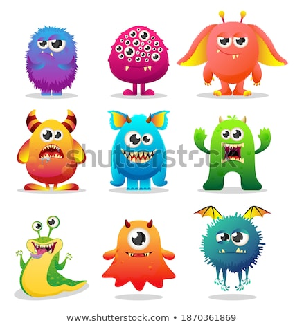 Silly Cartoon Plant Monster Icons Stock photo © cthoman