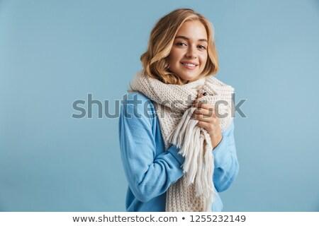 Immagine donna 20s sciarpa sorridere Foto d'archivio © deandrobot