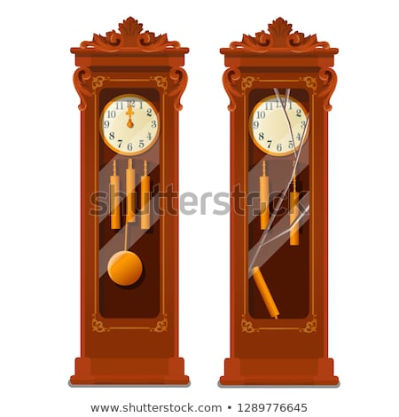 Antique wooden grandfather clock with broken glass isolated on white background. Vector cartoon clos Stock photo © Lady-Luck