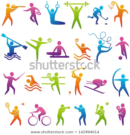 athlete set vector man woman skiing athletics tennis baseball fan group of sports people in stock photo © pikepicture