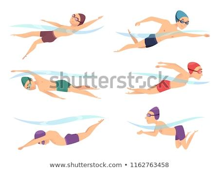 homem · natação · jovem · boné - foto stock © blaskorizov