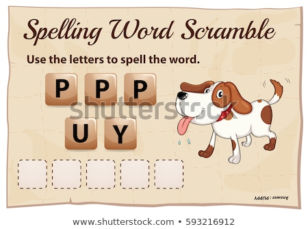 Spelling word game with word puppy Stock photo © colematt
