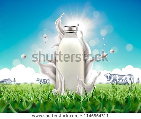 Zwierząt krowy szkła mleka cute ilustracja Zdjęcia stock © lenm