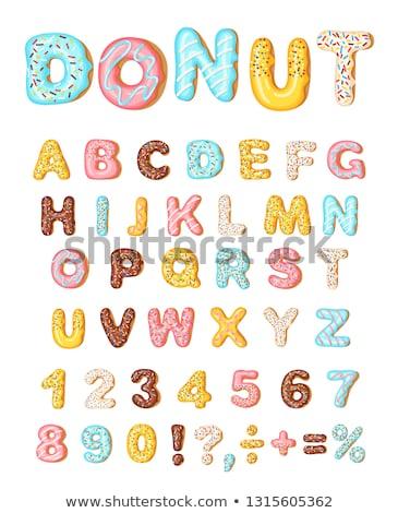 Betűtípus fánkok pékség édes ábécé számok Stock fotó © MarySan