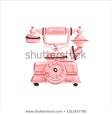 ヴィンテージ 電話 バラ 金 色 白 ストックフォト © bonnie_cocos