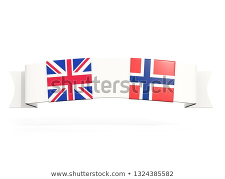 Banner with two square flags of United Kingdom and norway Stock photo © MikhailMishchenko