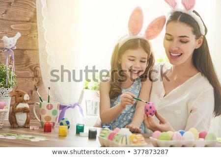 mutlu · anne · sevimli · çocuk · tavşan - stok fotoğraf © choreograph