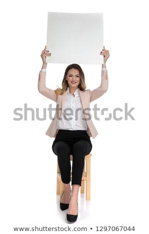 Vonzó okos lezser nő fehér tábla levegő Stock fotó © feedough