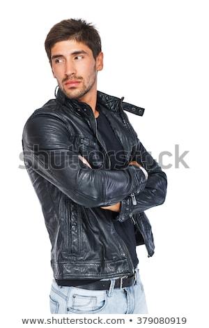 Homem preto jaqueta de couro óculos boné Foto stock © feedough