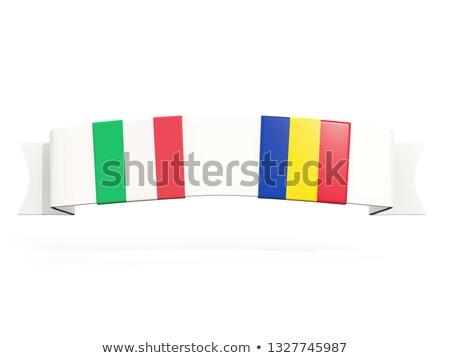 Banner dos cuadrados banderas Italia Rumania Foto stock © MikhailMishchenko