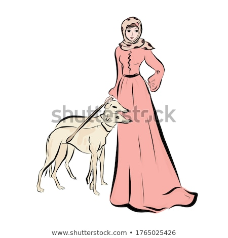 two vector models with dog head stock photo © netkov1
